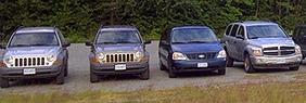 Line up of SUV vehicles for rent.